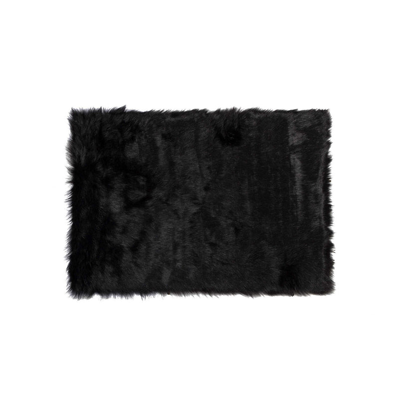 "3"" x 5"" Black Rectangular Faux Fur - Area Rug 