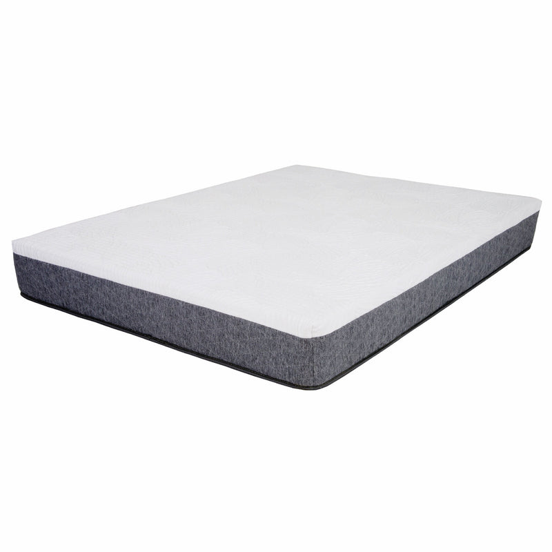 "12"" King White & Gray Gel Memory Foam Mattress 
