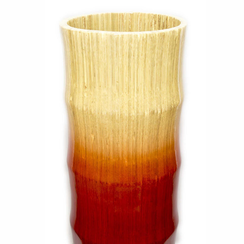 "24"" Turquoise, Copper, and Bronze Bamboo Chute Vase with an Ombre Fade 