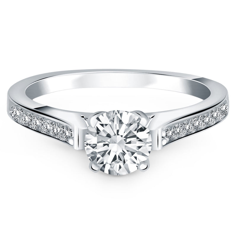 14k White Gold Pave Diamond Cathedral Engagement Ring, size 7 | Kipe it