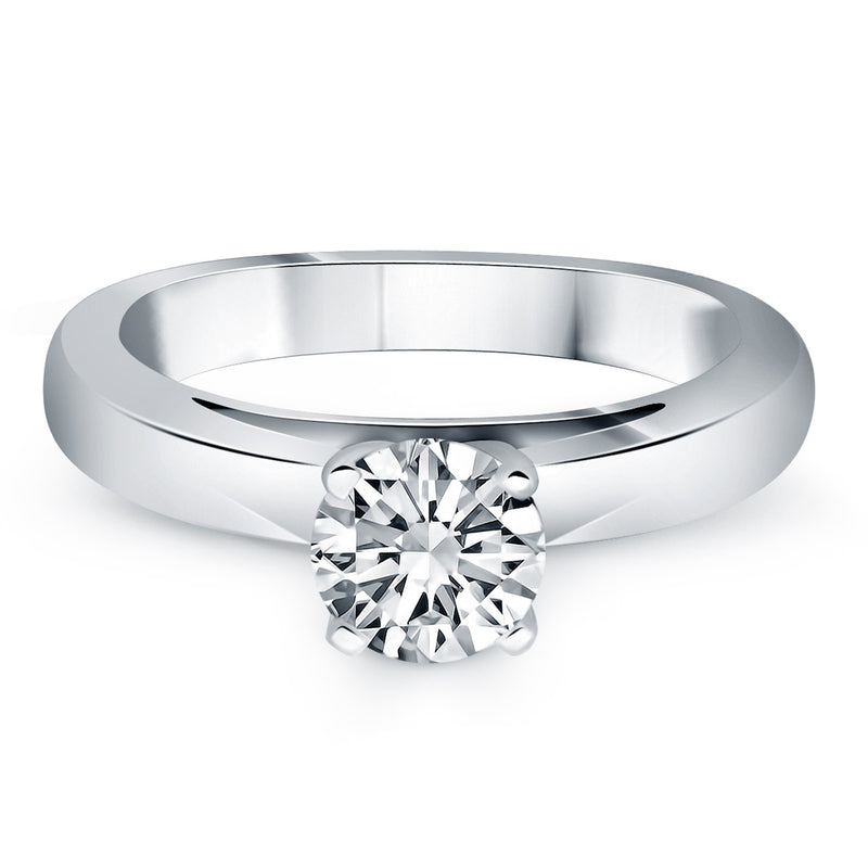14k White Gold Classic Wide Band Cathedral Solitaire Engagement Ring, size 8.5 | Kipe it