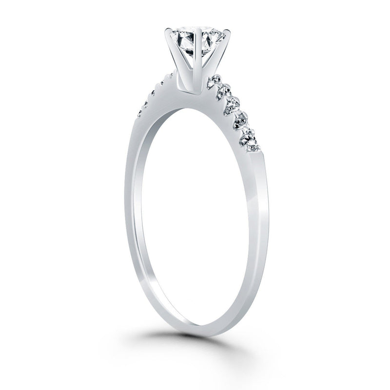 14k White Gold Engagement Ring with Diamond Band Design, size 5