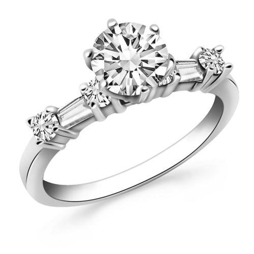 14k White Gold Engagement Ring with Round and Baguette Diamonds, size 6.5