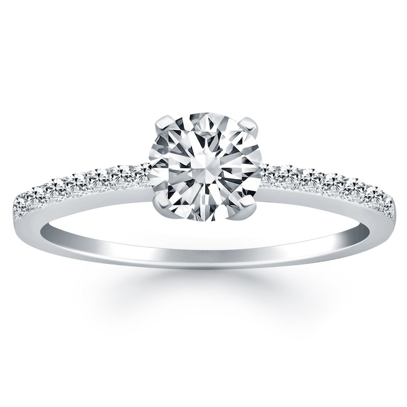 14k White Gold Engagement Ring with Pave Diamond Band, size 9 | Kipe it