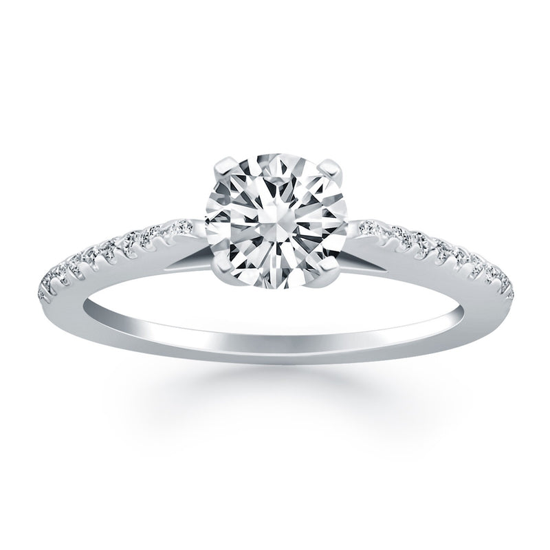 14k White Gold Micro Prong Diamond Cathedral Engagement Ring, size 8 | Kipe it
