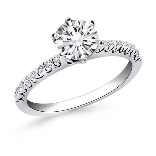 14k White Gold Engagement Ring with Fishtail Diamond Accents, size 4.5