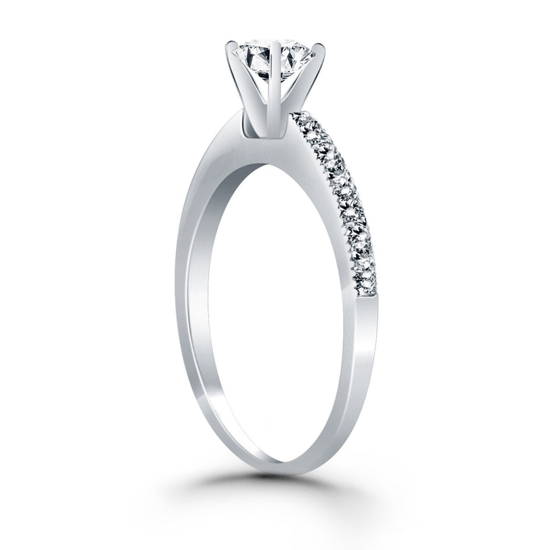 14k White Gold Classic Diamond Pave Solitaire Engagement Ring, size 5 | Kipe it