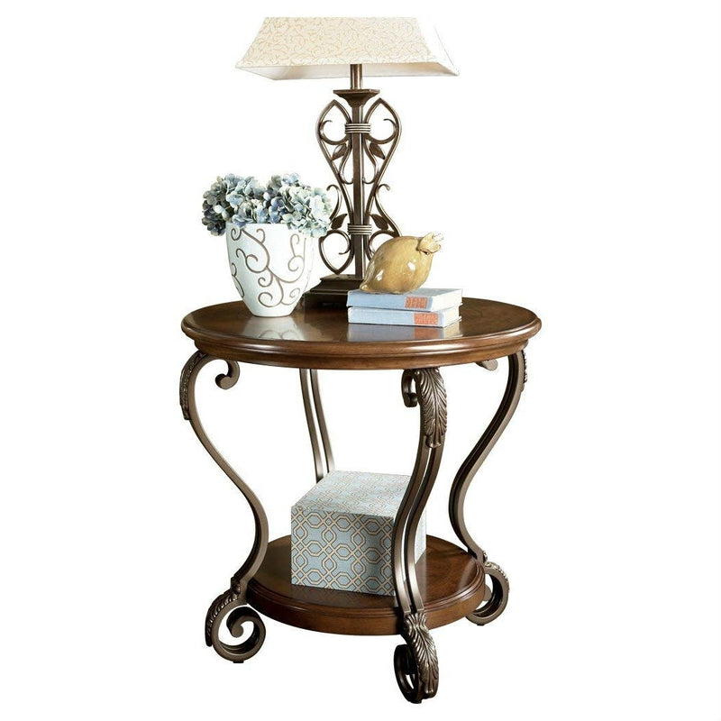 Accent End Table Nightstand in Brown Wood with Scrolling Metal Legs | Kipe it