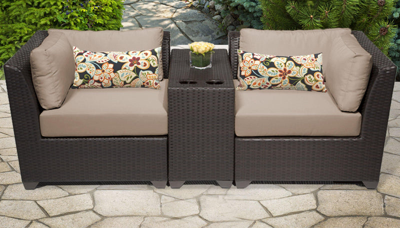 TK CLASSICS Barbados 3 Piece Outdoor Wicker Patio Furniture Set 03b - Wheat | Kipe it