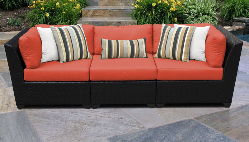 TK CLASSICS Barbados 3 Piece Outdoor Wicker Patio Furniture Set 03c - Tangerine | Kipe it