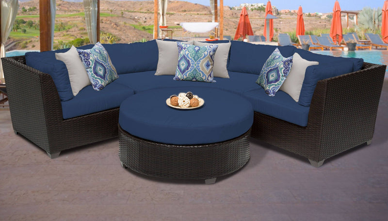TK CLASSICS Barbados 4 Piece Outdoor Wicker Patio Furniture Set 04a - Navy | Kipe it