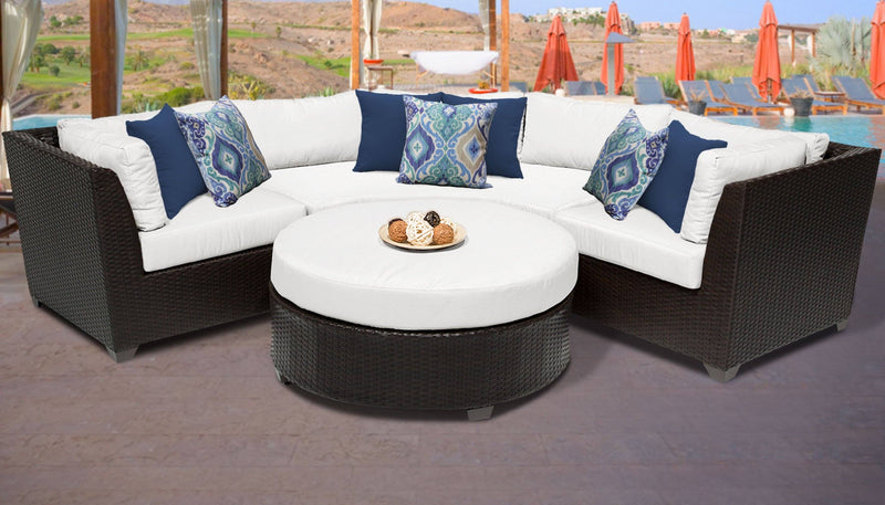 TK CLASSICS Barbados 4 Piece Outdoor Wicker Patio Furniture Set 04a - Sail White | Kipe it