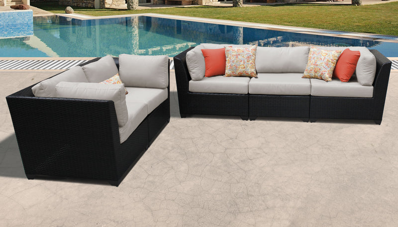 TK CLASSICS Barbados 5 Piece Outdoor Wicker Patio Furniture Set 05a - Beige | Kipe it