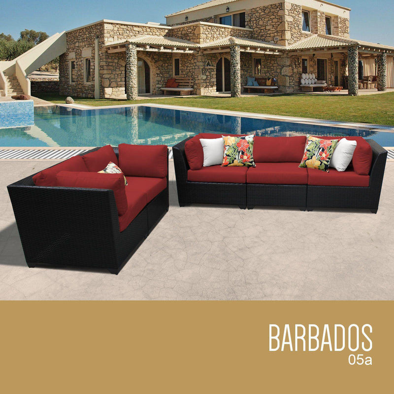 TK CLASSICS Barbados 5 Piece Outdoor Wicker Patio Furniture Set 05a - Terracotta | Kipe it