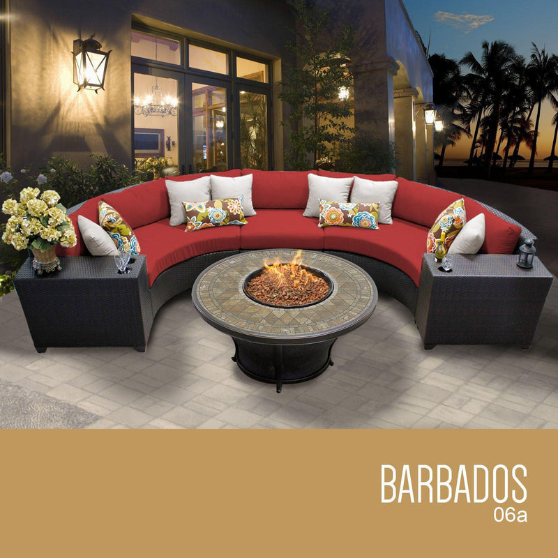 TK CLASSICS Barbados 6 Piece Outdoor Wicker Patio Furniture Set 06a - Terracotta | Kipe it