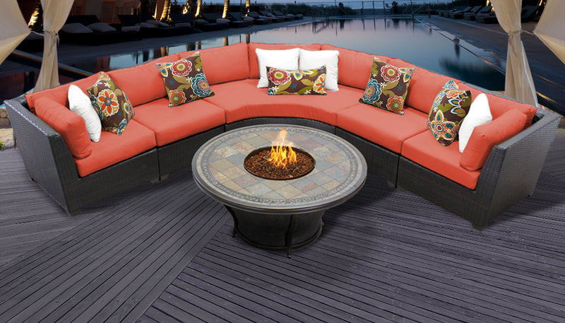 TK CLASSICS Barbados 6 Piece Outdoor Wicker Patio Furniture Set 06e - Tangerine | Kipe it