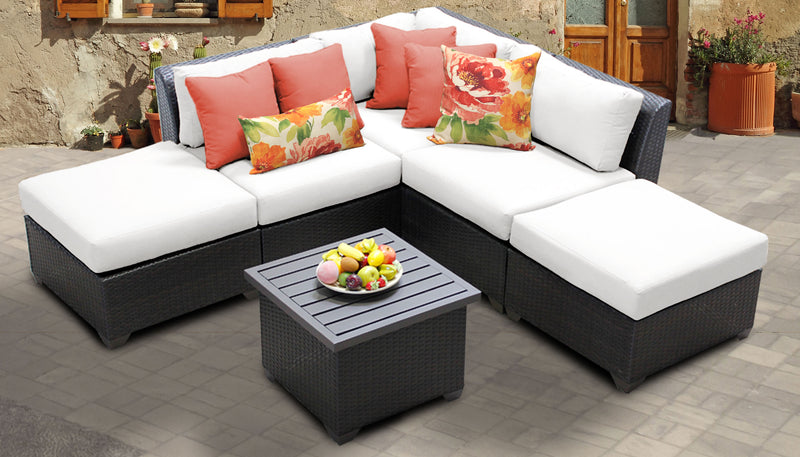 TK CLASSICS Barbados 6 Piece Outdoor Wicker Patio Furniture Set 06f - Sail White | Kipe it