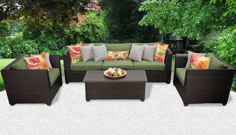 TK CLASSICS Barbados 6 Piece Outdoor Wicker Patio Furniture Set 06g - Cilantro | Kipe it
