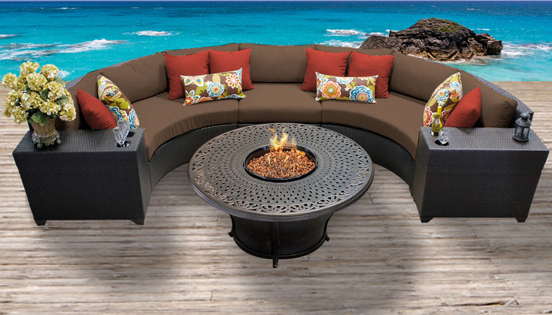 TK CLASSICS Barbados 6 Piece Outdoor Wicker Patio Furniture Set 06i - Cocoa | Kipe it