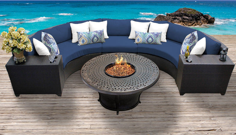 TK CLASSICS Barbados 6 Piece Outdoor Wicker Patio Furniture Set 06i - Navy | Kipe it