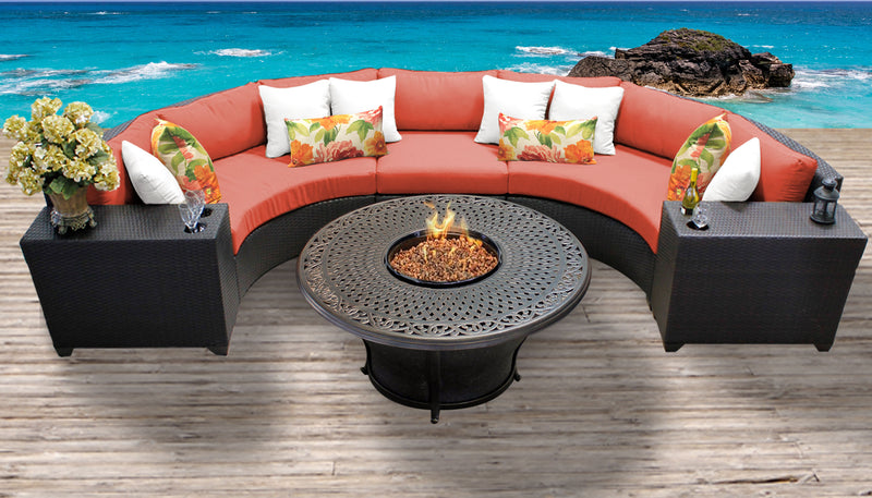 TK CLASSICS Barbados 6 Piece Outdoor Wicker Patio Furniture Set 06i - Tangerine | Kipe it