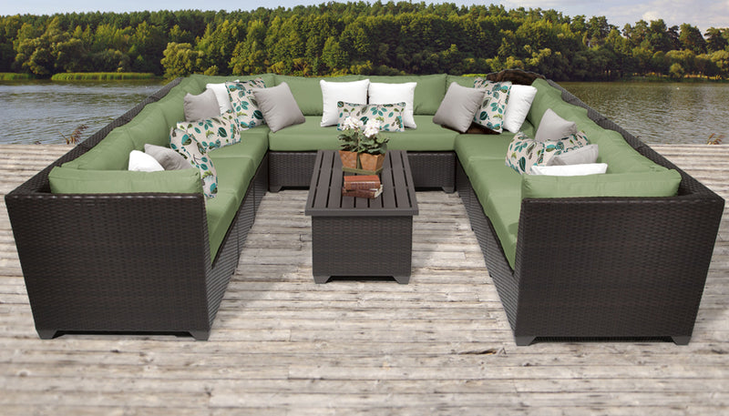 TK CLASSICS Barbados 11 Piece Outdoor Wicker Patio Furniture Set 11a - Cilantro | Kipe it