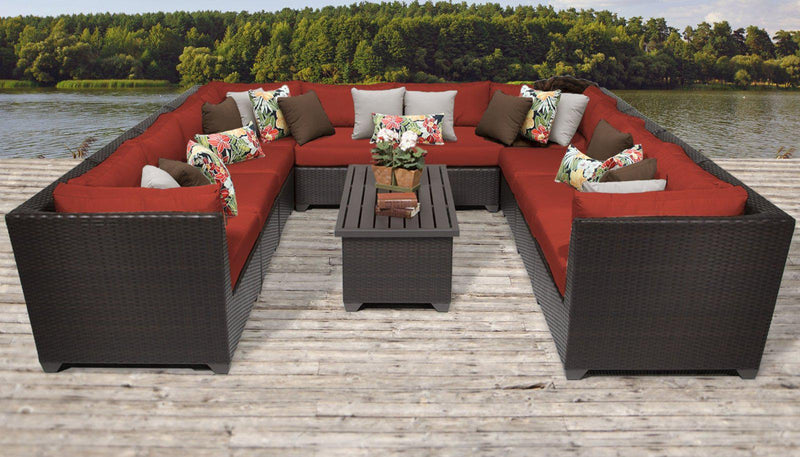 TK CLASSICS Barbados 11 Piece Outdoor Wicker Patio Furniture Set 11a - Terracotta