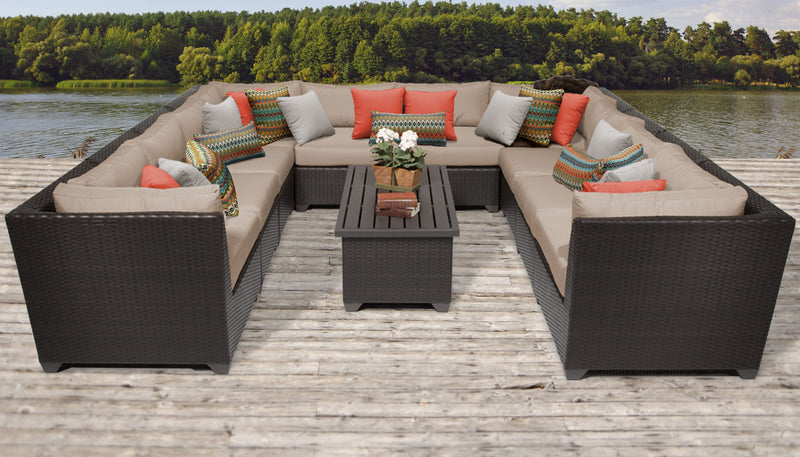 TK CLASSICS Barbados 11 Piece Outdoor Wicker Patio Furniture Set 11a - Wheat