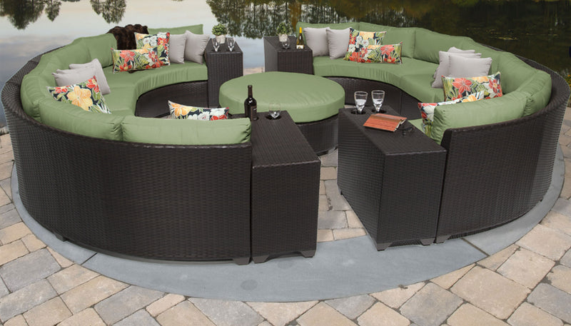TK CLASSICS Barbados 11 Piece Outdoor Wicker Patio Furniture Set 11b - Cilantro | Kipe it
