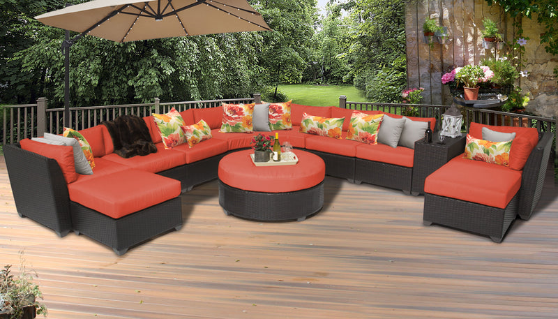 TK CLASSICS Barbados 11 Piece Outdoor Wicker Patio Furniture Set 11c - Tangerine | Kipe it