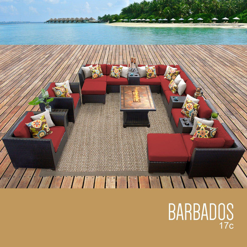 TK CLASSICS Barbados 17 Piece Outdoor Wicker Patio Furniture Set 17c - Terracotta | Kipe it