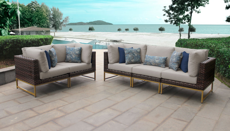 TK Classics Barcelona 5 Piece Outdoor Wicker Patio Furniture Set 05a - Beige (Gold) | Kipe it