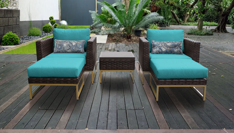TK Classics Barcelona 5 Piece Outdoor Wicker Patio Furniture Set 05b - Aruba (Gold) | Kipe it