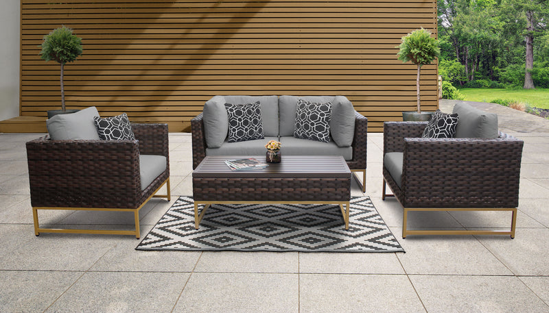 TK Classics Barcelona 5 Piece Outdoor Wicker Patio Furniture Set 05c - Grey (Gold) | Kipe it