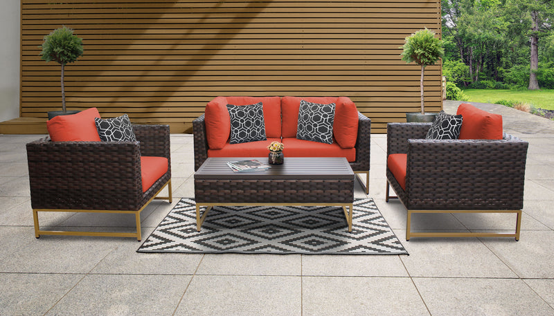 TK Classics Barcelona 5 Piece Outdoor Wicker Patio Furniture Set 05c - Tangerine (Gold) | Kipe it