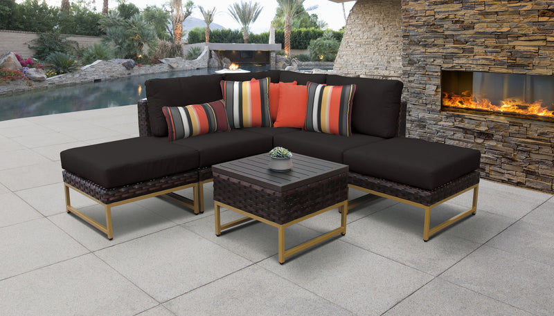 TK Classics Barcelona 6 Piece Outdoor Wicker Patio Furniture Set 06b - Black (Gold) | Kipe it