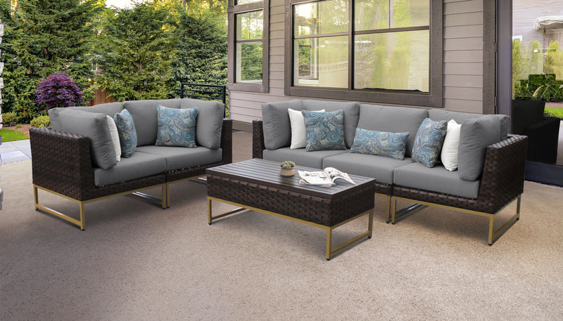 TK Classics Barcelona 6 Piece Outdoor Wicker Patio Furniture Set 06m - Grey (Gold) | Kipe it