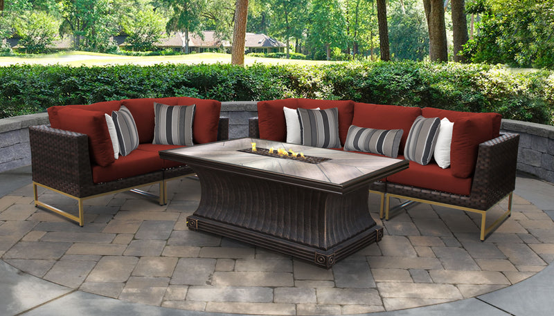 TK Classics Barcelona 6 Piece Outdoor Wicker Patio Furniture Set 06n - Terracotta (Gold) | Kipe it