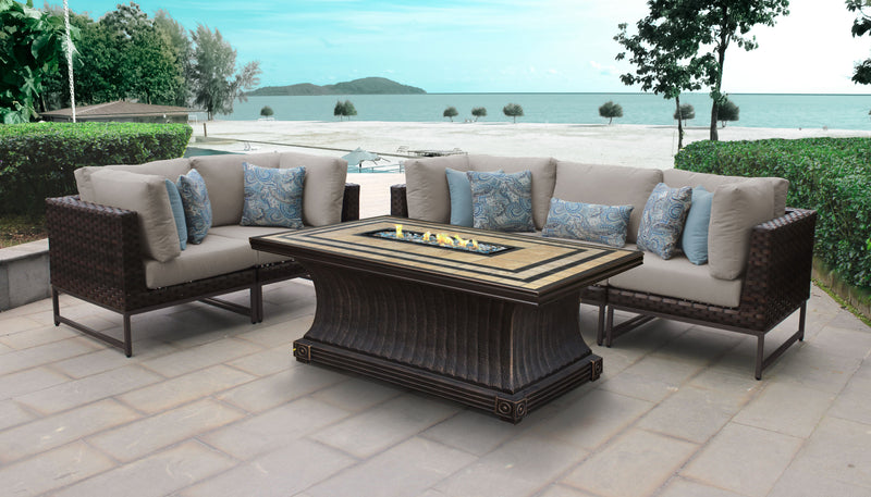 TK Classics Barcelona 6 Piece Outdoor Wicker Patio Furniture Set 06o - Beige (Gold) | Kipe it