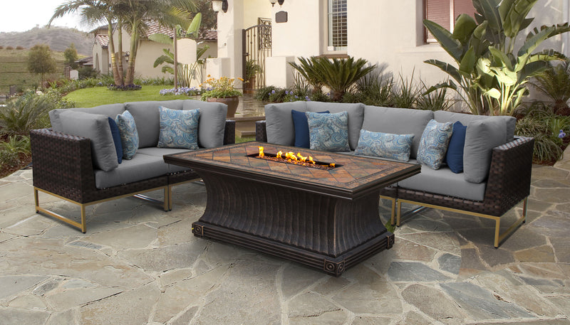 TK Classics Barcelona 6 Piece Outdoor Wicker Patio Furniture Set 06p - Grey (Gold) | Kipe it
