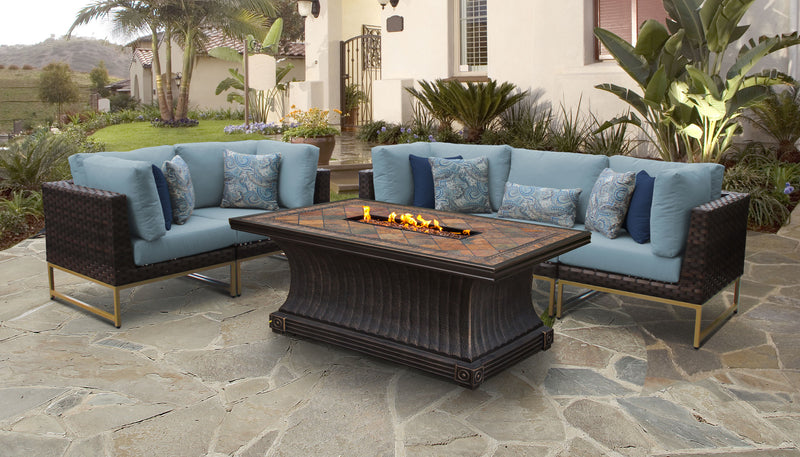 TK Classics Barcelona 6 Piece Outdoor Wicker Patio Furniture Set 06p - Spa (Gold) | Kipe it