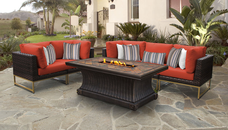 TK Classics Barcelona 6 Piece Outdoor Wicker Patio Furniture Set 06p - Tangerine (Gold) | Kipe it