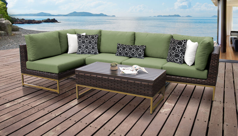 TK Classics Barcelona 6 Piece Outdoor Wicker Patio Furniture Set 06q - Cilantro (Gold) | Kipe it