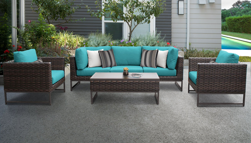 TK Classics Barcelona 6 Piece Outdoor Wicker Patio Furniture Set 06r - Aruba (Brown) | Kipe it