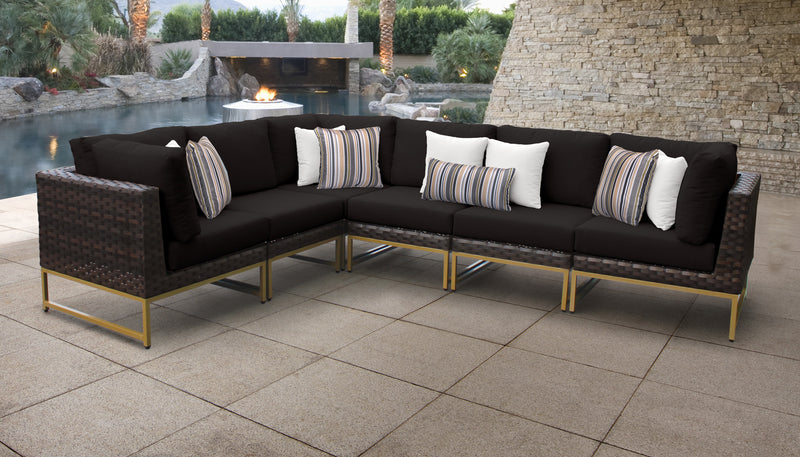 TK Classics Barcelona 6 Piece Outdoor Wicker Patio Furniture Set 06v - Black (Gold) | Kipe it