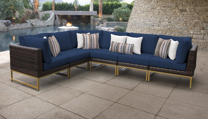 TK Classics Barcelona 6 Piece Outdoor Wicker Patio Furniture Set 06v - Navy (Gold) | Kipe it
