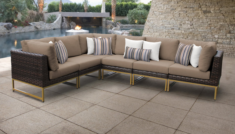TK Classics Barcelona 6 Piece Outdoor Wicker Patio Furniture Set 06v - Wheat (Gold) | Kipe it