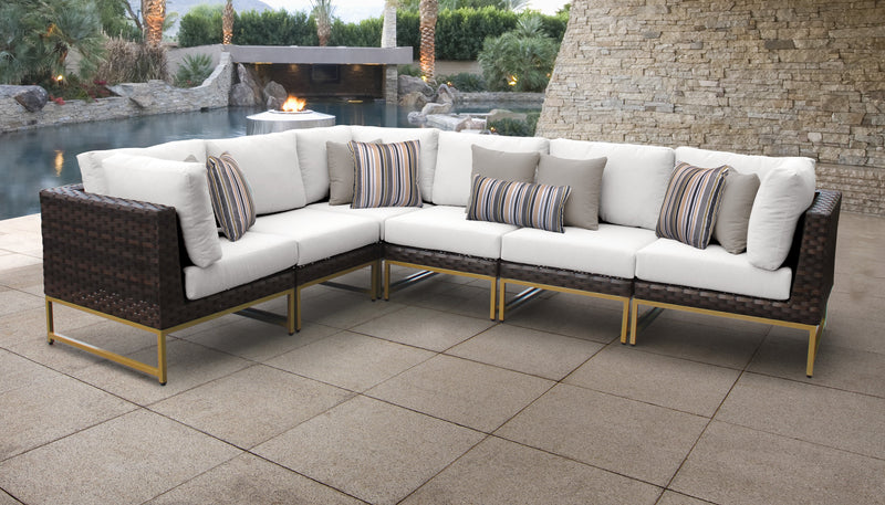 TK Classics Barcelona 6 Piece Outdoor Wicker Patio Furniture Set 06v - Sail White (Gold) | Kipe it