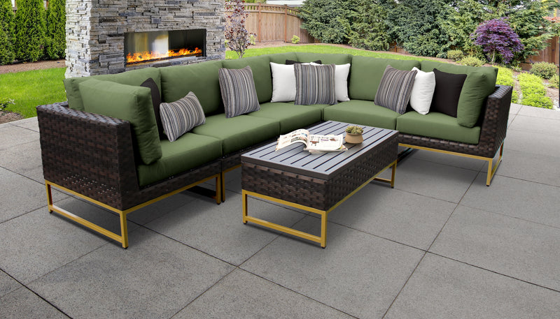 TK Classics Barcelona 7 Piece Outdoor Wicker Patio Furniture Set 07b - Cilantro (Gold) | Kipe it