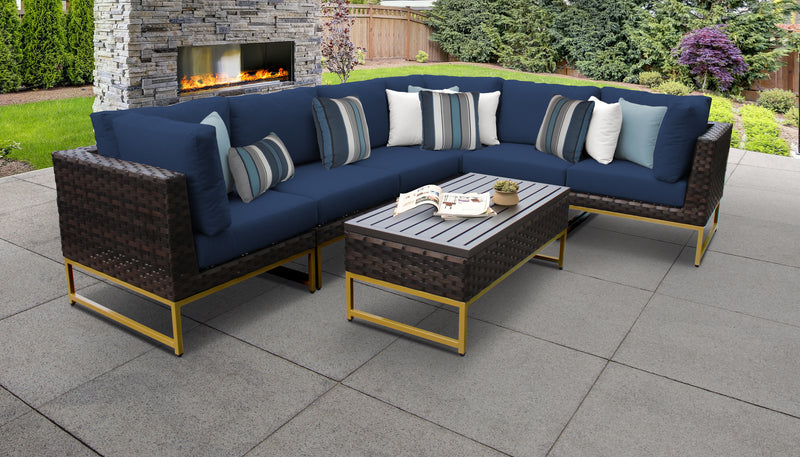 TK Classics Barcelona 7 Piece Outdoor Wicker Patio Furniture Set 07b - Navy (Gold) | Kipe it